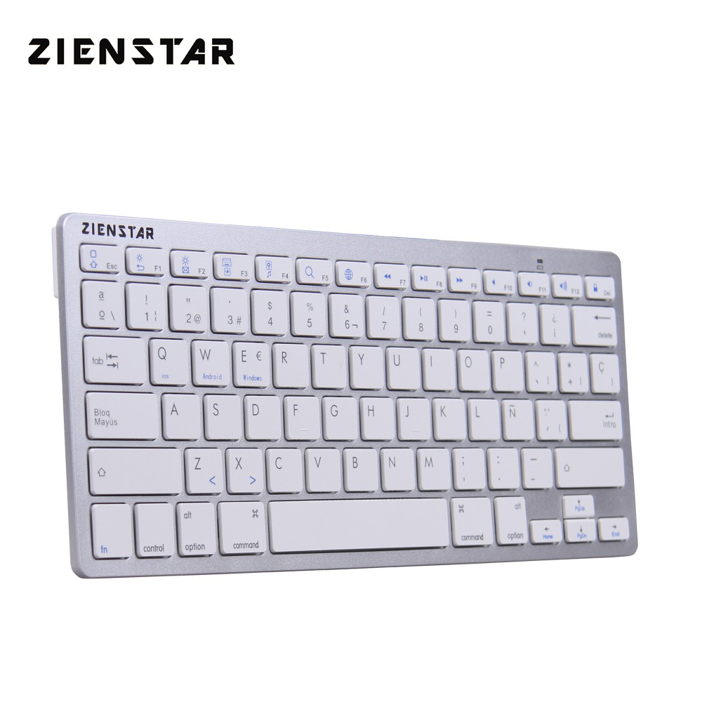 Zienstar Spanish Language Ultra Slim Wireless Teclado Bluetooth 3.0 for ipad/Iphone/Macbook/PC computer/Android Tablet lofree dot bluetooth mechanical keyboard wireless backlit round button for ipad iphone macbook pc computer android tablet