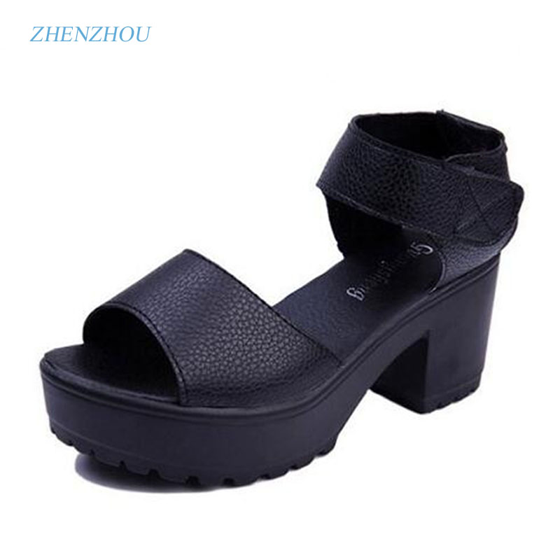 Free shipping HOT selling 2017 women's summer high-heeled shoes thick heel open toe platform sandals platform sandals white summer causal open toe buckle high heeled thick waterproof platform sandals for women