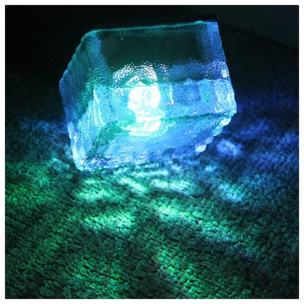 3Pcs Waterproof Solar Path Ice Cube Lights Color Changing RGB <font><b>LED</b></font> Frosted Glass <font><b>Brick</b></font> Rock Lamp In-groud Buried Ice <font><b>Brick</b></font> Lights