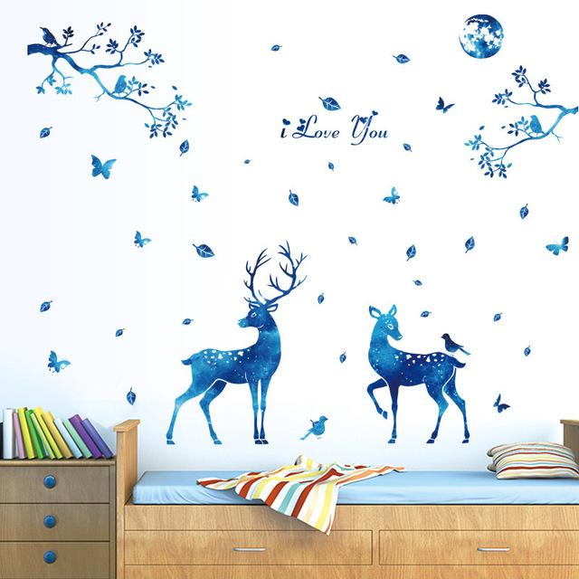 144cm*156cm Living Room Antelop Wall Sticker Smart Animal Jungle Wall  Pictures Pvc Home Decoration