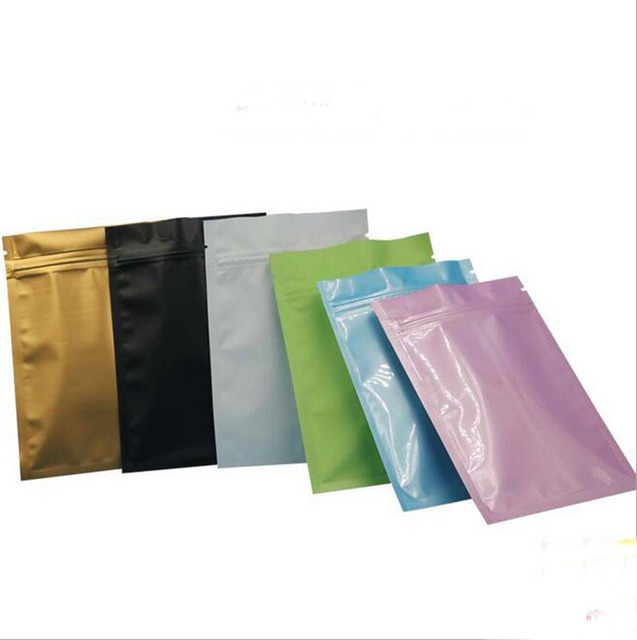High Quality 12 X 18cm Black Gold Color Metallic Mylar Ziplock Bags Flat Bottom Aluminum