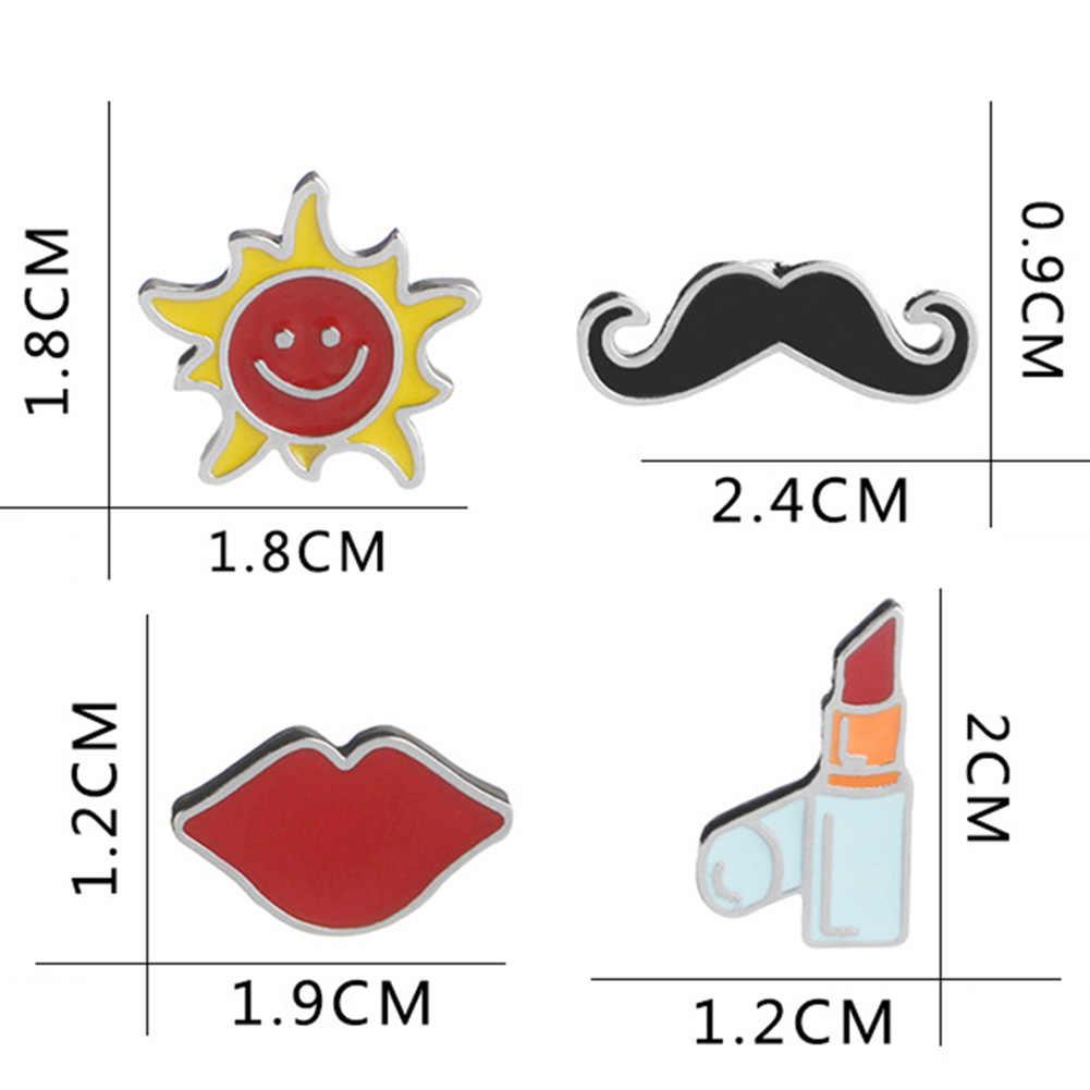 Modis 1 Pc Akrilik Perhiasan Kustom Wanita Lipstik Jenggot dan Matahari Bros Bibir Merah Seksi Bros