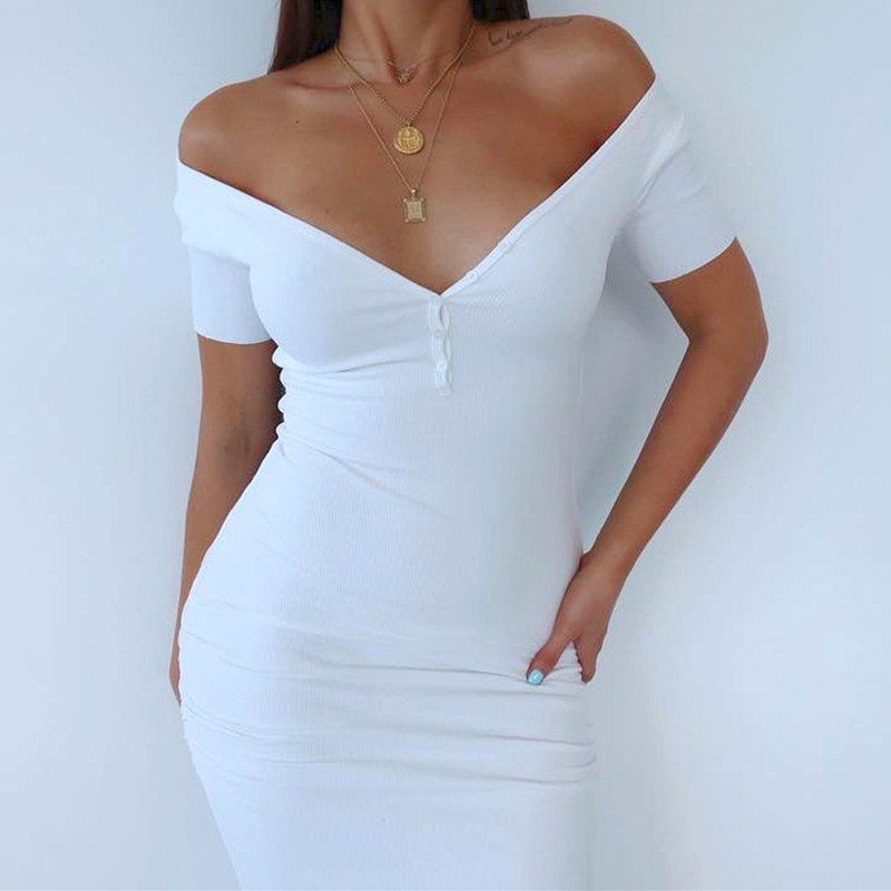 Image 5 - WannaThis Ankle Length Knitted Dress Sexy Short Sleeve Summer Casual Stretchy Elastic Elegant V Neck Women Solid Dresses Bodycon-in Dresses from Women's Clothing