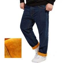 2016 loose Jeans pants Men denim pants warm thick winter trousers,men jeans pants loose denim flocking inside  plus Size 28-48