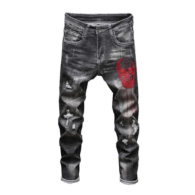 MORUANCLE Men's Hi Street Ripped Jeans Pants With Skull Embroidery Fashion Distressed Denim Trousers With Holes Stretchy