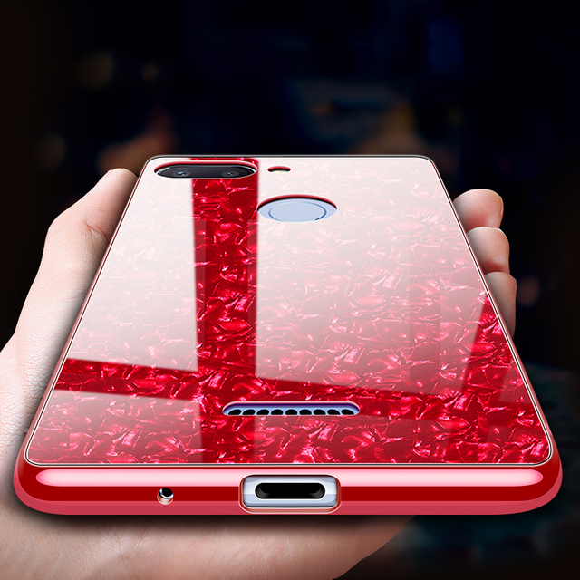 quality design c80a4 f593c US $4.58 45% OFF|For Xiaomi Redmi 6 Pro Case Luxury Tempered Glass Hard  Back Cover Soft Frame Shockproof Phone Skin for Xiomi Xiaomi Redmi 6 6A-in  ...