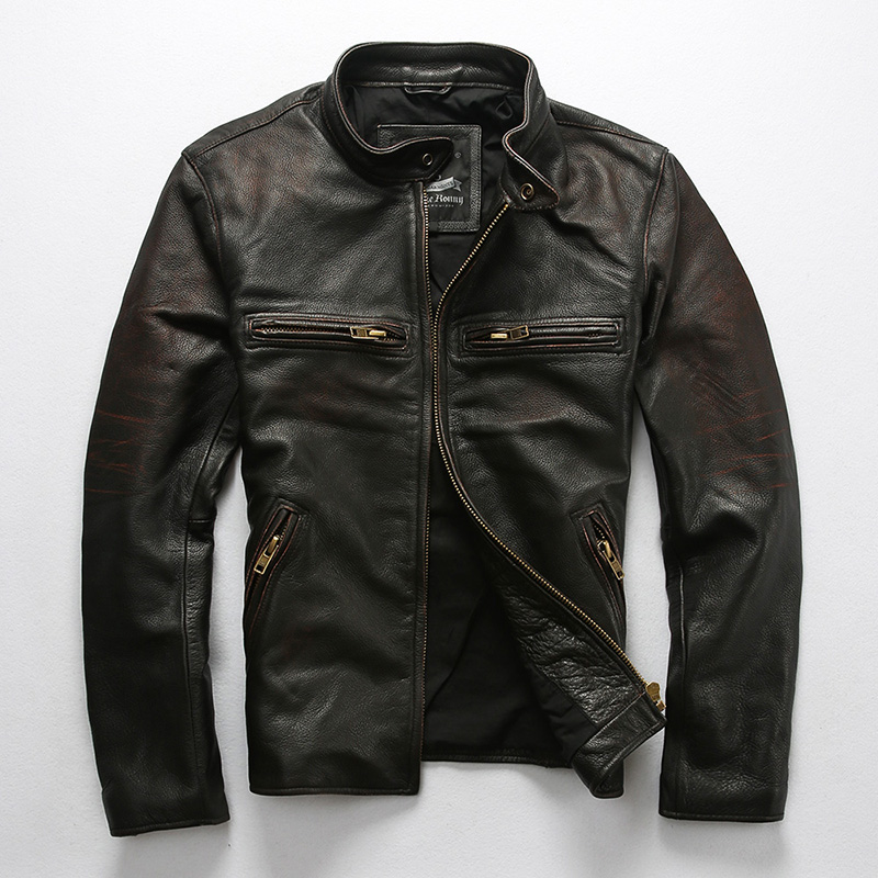 Men's Genuine Leather Black Jackets High Quality Spring Autumn Outwear Cowhide Vintage Classic Motorcycle Rider Jacket for Male