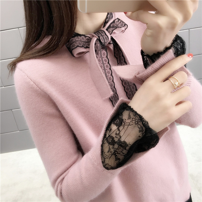 10488Sweater Women's Fashion Slim Cuff Lace Bow Tie Sweater  Actual Photo Of The New Spring Korean Version Of Women's Knitting44