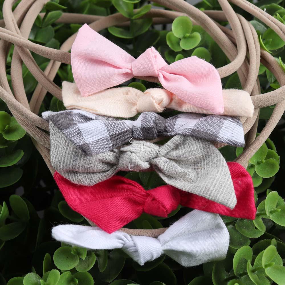 6 Pcs set Fashion Solid Fabric Hairbow Soft Nylon Elastic Hair Bands Handmade Cross Knot Headband For Baby Hair Accessories