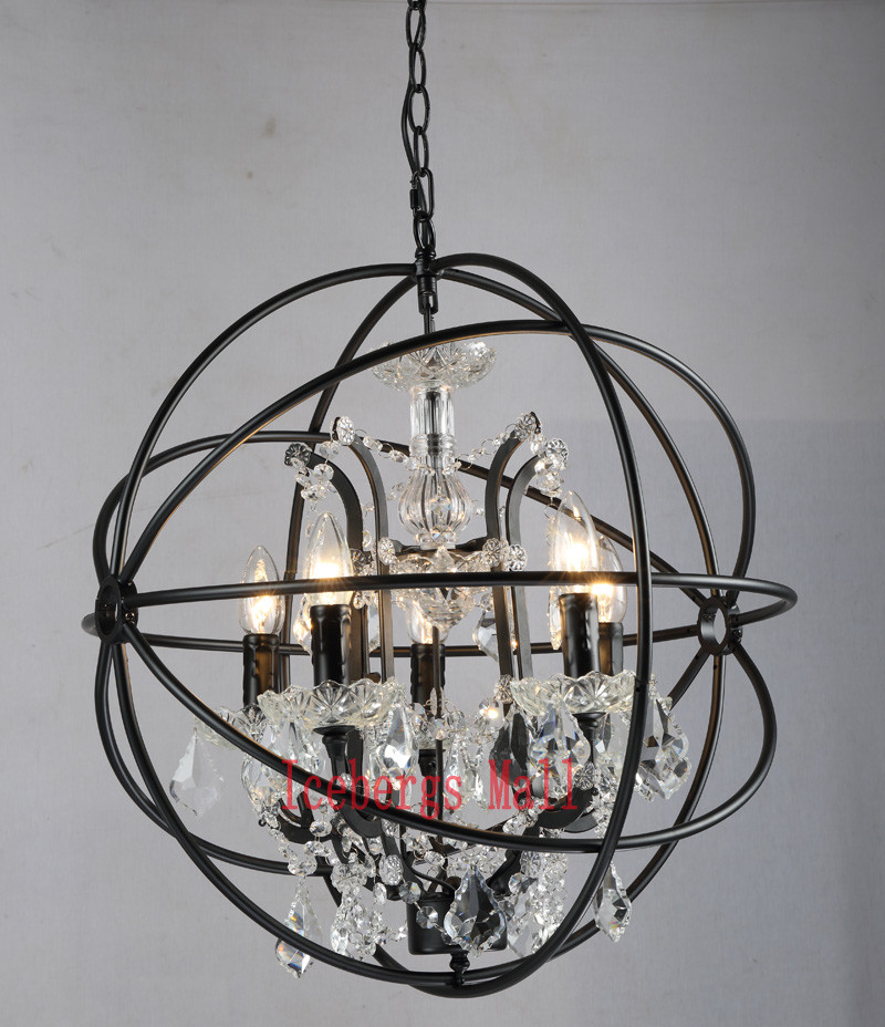 Nordic Iron Chain Cage Crystal Pendant Lights American RH Industrial Lamp Vintage Home Decor Hanging Light For Living Room2
