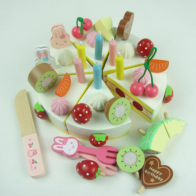 Baby Educational Toys Child Strawbberry Simulation Cream Birthday Cake Wooden Pretend Play Kitchen Toy Infant Gift