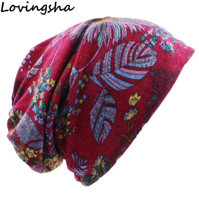 LOVINGSHA Autumn Winter Floral Design Dual-use Women Hats Feminino   Skullies     Beanies   For Ladies Thin Girl Fashion Scarf HT063