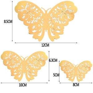 Image 5 - 12 sztuk/zestaw 3D naklejki ścienne motyl wytłaczany papier naklejki motyle na ślub urodziny domu pokój diy deco Baby Shower Supplie