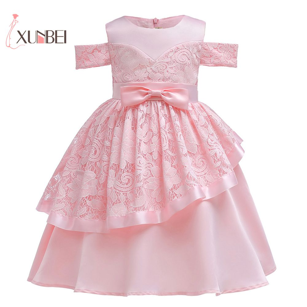 Knee Length Lovely Pink Lace   Flower     Girl     Dresses   2019 Off Shoulder Communion   Dresses   Pageant   Dress   For   Girls