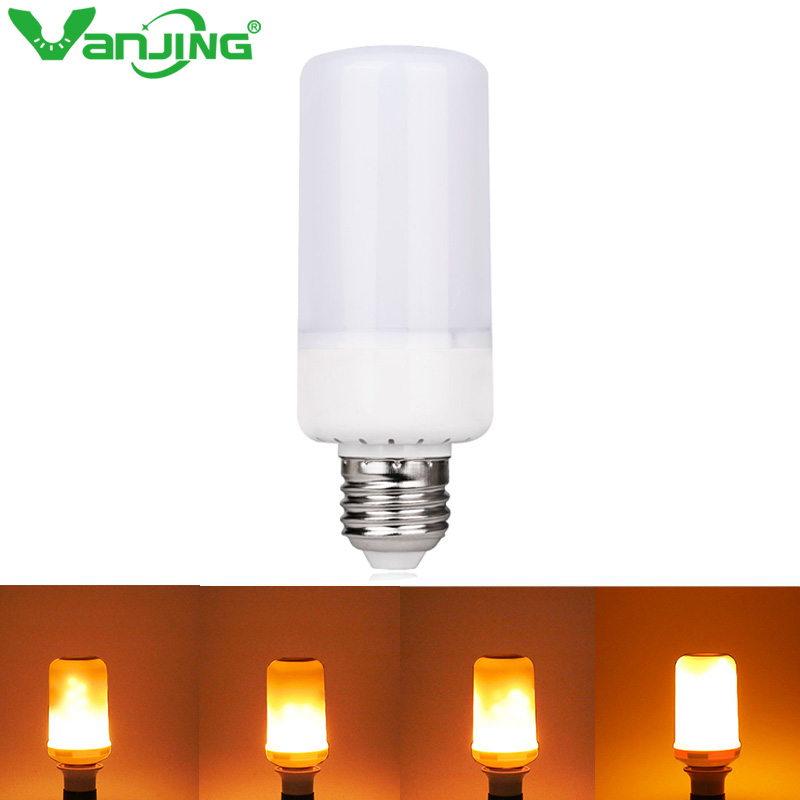 LED Lamp Flame Effect Fire Light Bulbs E27 E14 2835SMD 5W 3 Modes Flickering Emulation Flame Lights AC85-265V