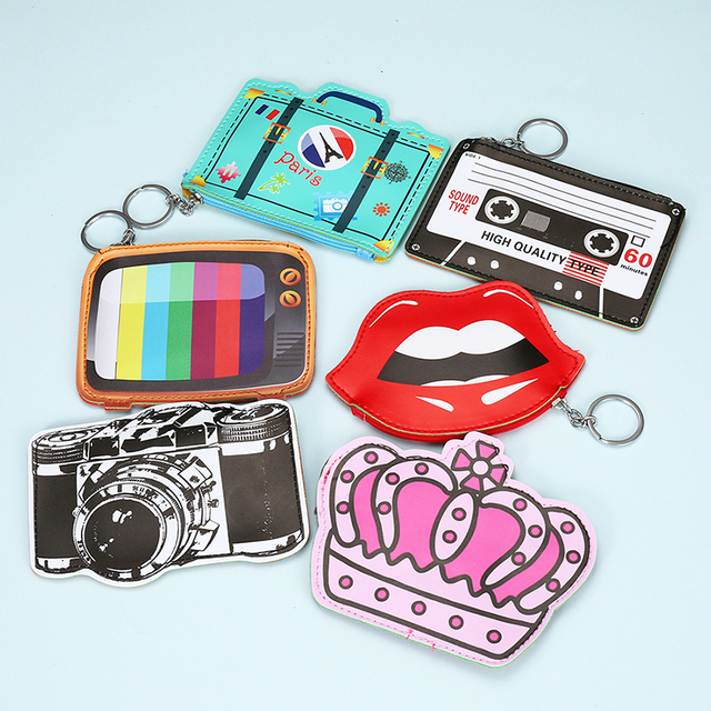 Monedero de cuero de moda para niños creativo de dibujos animados Cartera de embrague de tv con forma de corona de labios pequeño bolso de mano mini Cartera de almacenamiento