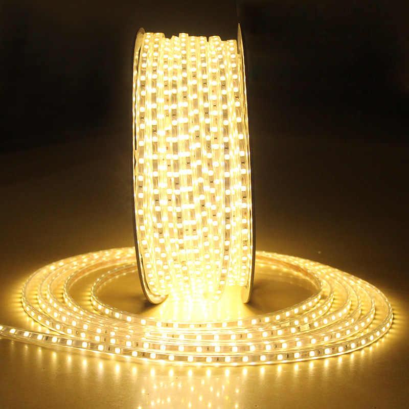 LAIMAIK LED bande lumineuse 5050 étanche IP67 AC 220 V lumière LED bande 60 LED s/m 5050SMD LED bande lumineuse avec prise d'alimentation lumière LED s