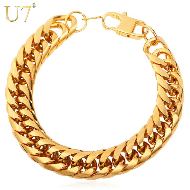 U7 Big Stainless Steel Bracelet Men Jewelry Wholesale Gold Color 21CM 13 MM Thick Cuban Link Chain Mens Bracelets H772
