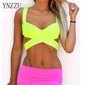 YNZZU cores Fluorescentes Mulheres Tops Tubo Sutiã Top 2016 Moda Sexy Bustier Cruz Estiramento Das Senhoras Skinny Tanque Sólidos Tops YT075