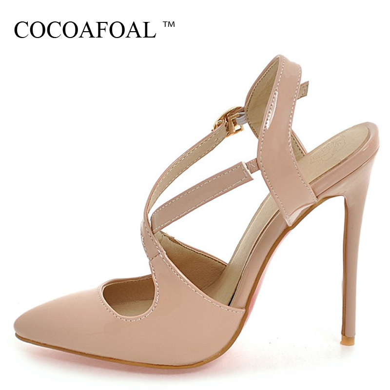 COCOAFOAL Women White Wedding Sandals Plus Size 33 - 48 High Heels Sandals Sexy Apricot Black Patent Leather Pointed Toe Pumps cocoafoal woamn patent leather sandals fashion heel height black white wedding shoes sexy genuine leather pointed toe sandals