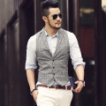 2017 new spring&summer linen Plaid men vest single breasted Casual male slim fit grey Plaid vest sleeveless jacket brand