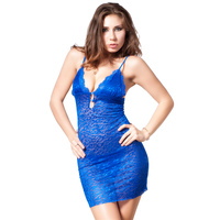 Blue Deep V Collar Baby Doll Sexy Lingerie Womens Plus Size Embroidery Lace Halter Erotic Lingerie