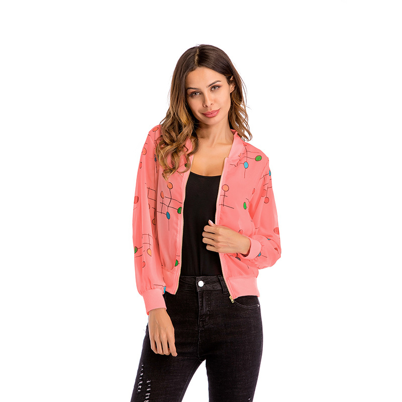Summer Fashion Women Casual   Basic   Bomber   Jacket   Slim Dot Print Coat Zipper UP Chiffon Autumn   Jacket   Outwear