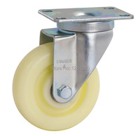 Free Shipping Medium Sized 4inch Flat Top Universal PP Caster Double Ball Bearing Wheel Material Handling