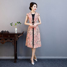 Summer New Pink Rayon Cheongsam Elegant Women' s Handmade Button Dress Short Sleeve Knee Length Sexy Print Short Dress M-4XL(China)