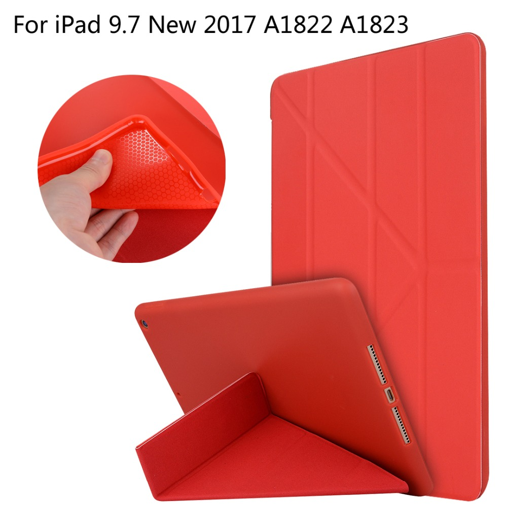 For iPad 9.7 New 2017 A1822 A1823 High-quality case Cover Deformation Smart Slim Magnetic TPU Leather Stand Cases + Film +Stylus что на 10 копеек 1823 года цена