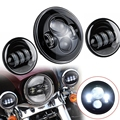 "7"" Round H4 H13 Led MOTORCYCLE Projector Daymaker Hi/Lo Headlight with 4.5"" Foglight KIT For Harley"