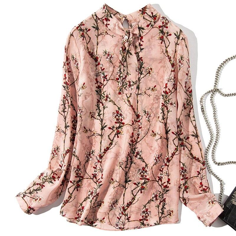Manches Rose Femmes Pulls Chemisier 2019 Printemps Chemises Eté Soie À Longues Chinois Nouvelles Imprimer Style 100 FwZfSxqc7