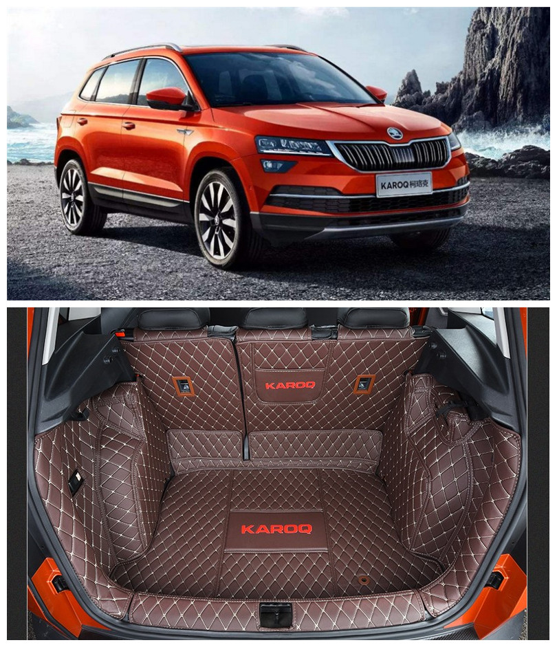For SKODA KAROQ 2018 2019 Full Rear Trunk Tray Liner Cargo Mat Floor Protector foot pad mats Embroidery Leather