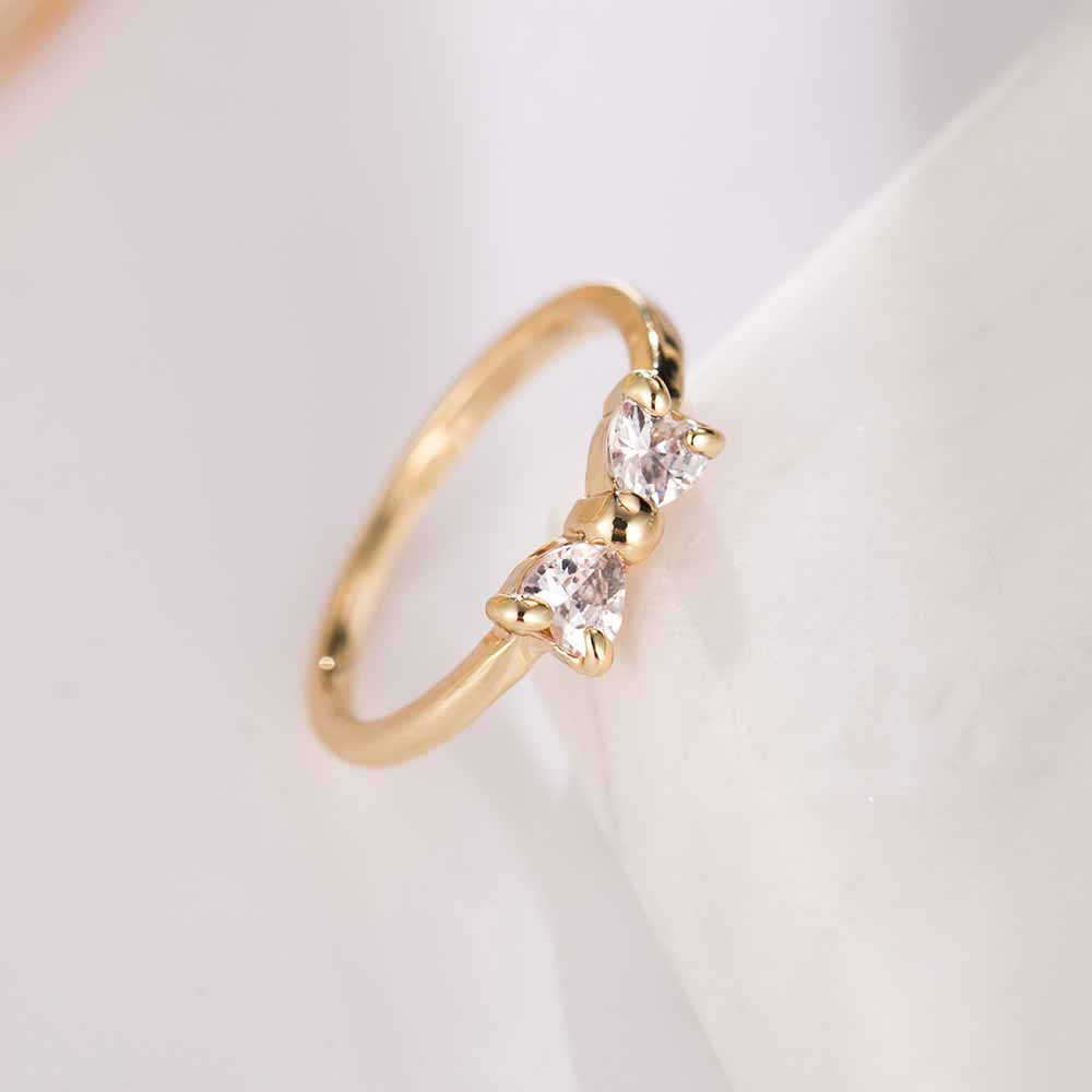 genuine sterling stackable jewelry rings bow sparkling ring touch silver love wedding products knot