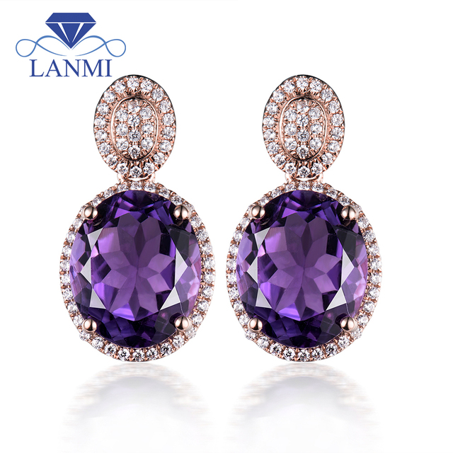 Oval Solid 14kt Rose Gold Natural Purple Amethyst Earrings Diamond Earring Drop