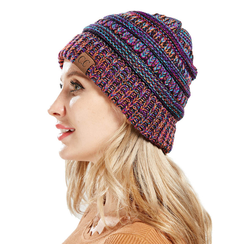 7f480728687 Winter CC Ponytail Beanie Hats for Women Messy Bun Woolen Hat Knitted  Skullies Beanies Soft Caps Casual Mix Color Warm Knit Cap-in Skullies    Beanies from ...