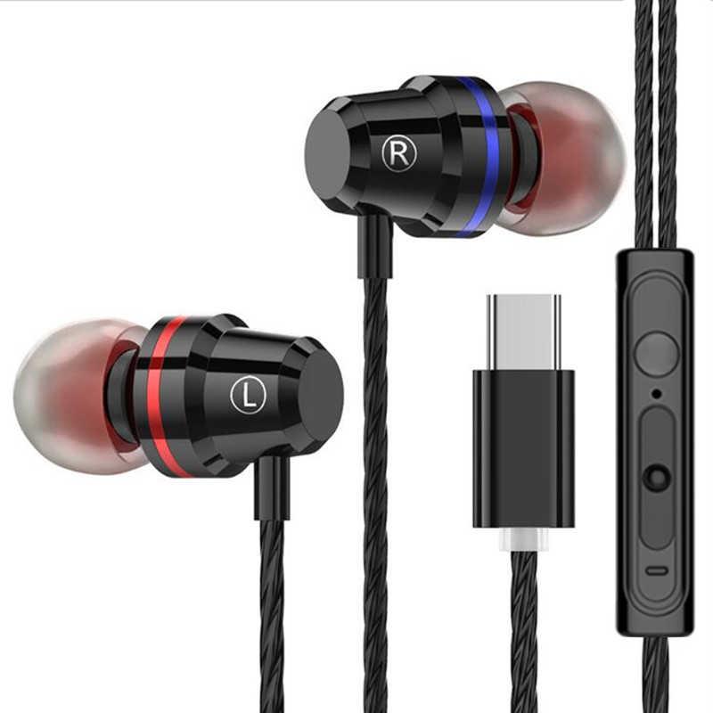 Auriculares con cable tipo c para Samsung Xiaomi mi 8 Huawei P20 P30 LeEco USB tipo c auriculares de Metal con mi c