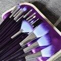 Pro 16 Unids Púrpura Pelo Pinceles de Maquillaje Cosmético Del Sistema de Cepillo con Estuche De Cuero Suave