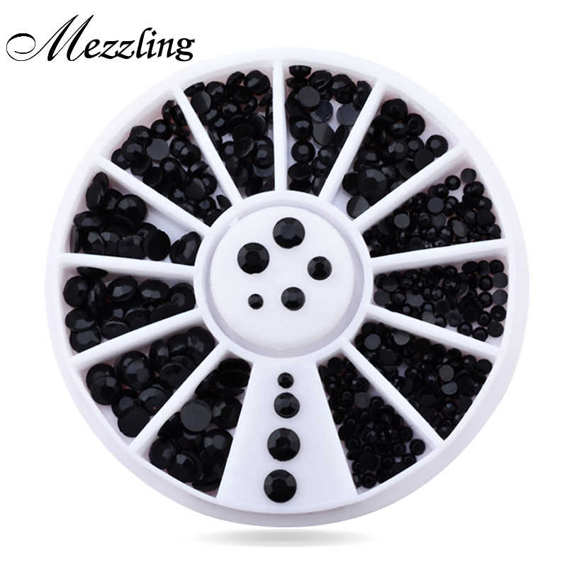 New Mix 3sizes Black 3d Nail Rhinestone Pearls Art Flatback Nail Tips Sticker Decoration Wheel