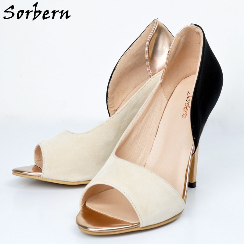 Sorbern Open Toe Side Open Women Pumps Slip On 2017 Heels Ladies Shoes Size 43 Rubber Soles Stilettos Retro Shoes Size 4-15 guvoosm ladies med heels pumps women black casual sapato feminino rubber slip on shoes woman round toe big small size 31 43