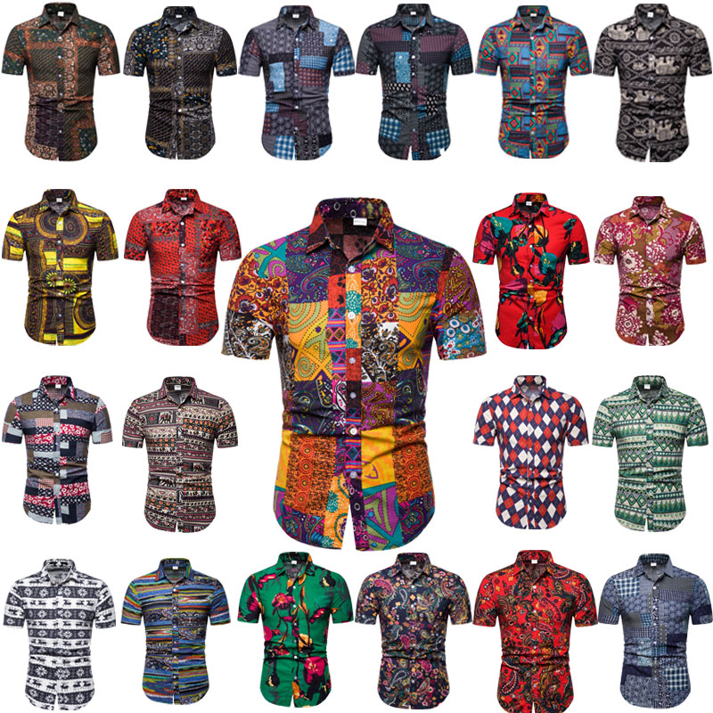 2020 Summer New Thin Section Printed National Wind Casual Beach Short-sleeved Shirt Men Patchwork Plaid Casual Men Brand Shirt