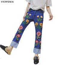 VERSMA Latest Design Black Skinny Embroidery Flowers Jeans Pants Men Hip Hop Mens Denim Vintage Flare Jeans Pants Brand Clothes