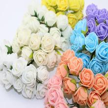 2CM 144pcs Multicolor PE Rose Foam Mini Artificial Silk Flowers Bouquet Solid Color Wedding Decorative Flowers