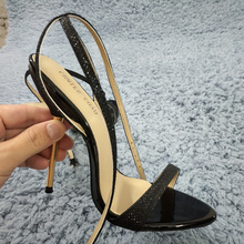 Women Stiletto Thin Iron High Heel Sandals Sexy Ankle Strap Open Toe Black Glittering Party Bridals Wedding Lady Shoes 3845-i8