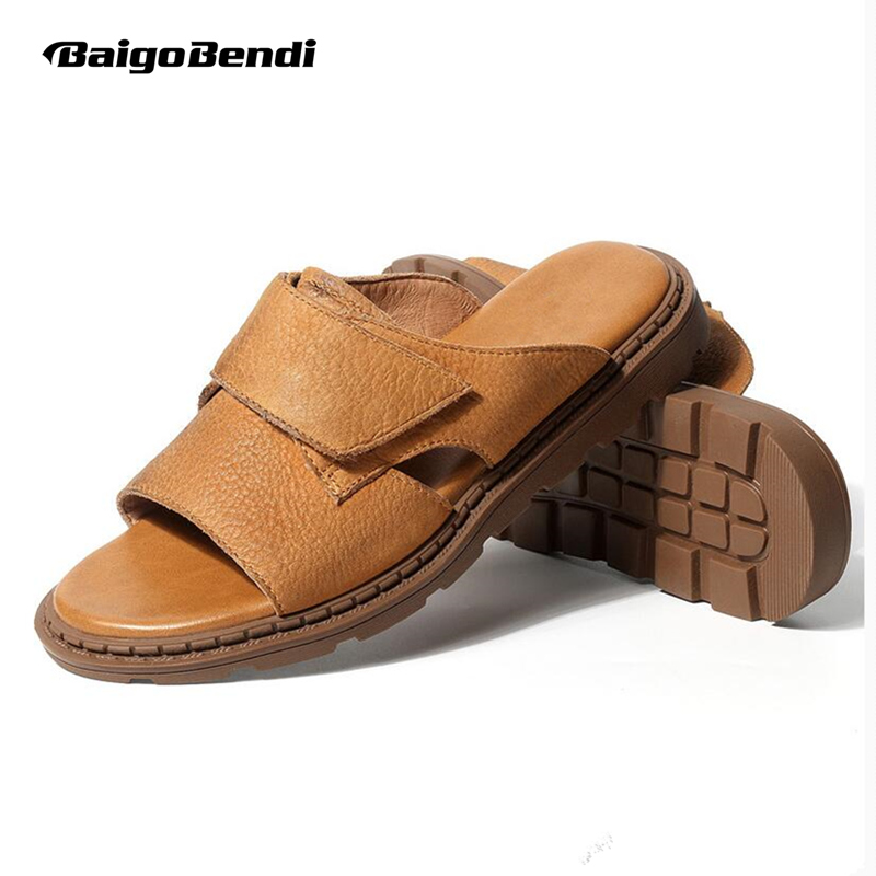2018 Summer New Men Casual Sandals Business Man Leisure Outdoor Genuine Leather Rome Style Slippers Shoes Summer Beach Slides 2018 summer ladies sandals leisure casual and european style slippers in europe and america