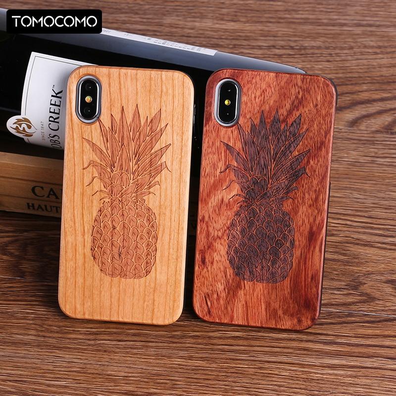 TOMOCOMO Plants Pineapple Heart Real Wood Case Cover Coque Capas Fundas For iPhone 5 5S 6 6S 6Plus 7 7Plus S9 Plus S8 S8 S8Plus