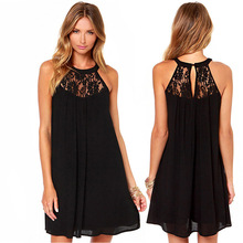Fashion Summer Black white Sleeveless lace stitching chiffon Dress womens dress