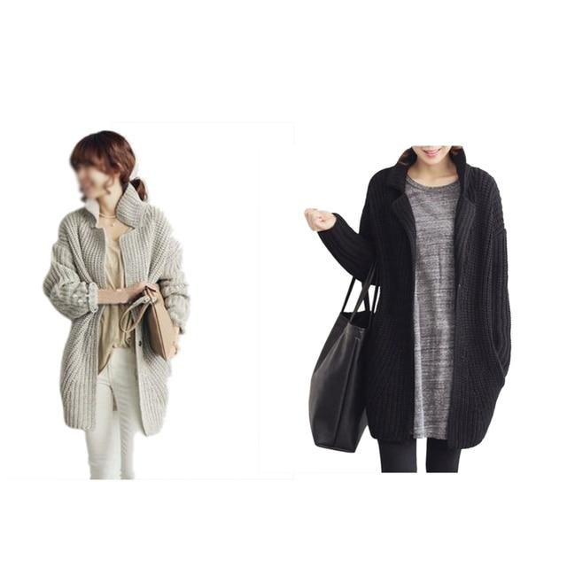 EAS Women Knitted Sweater Batwing Sleeve Outwear Coat Black/Gray One Size