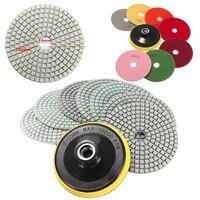 OSSIEAO 8pcs 4 Inch Diamond Polishing Pads Wet Dry Set Backer Granite Concrete Marble