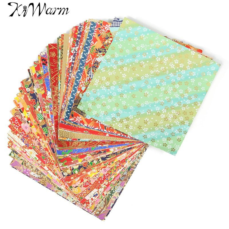 Kiwarm100 sheets 14x14cm mixed pattern japanese flower for Waste material craft on paper